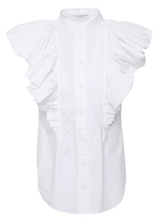 Philosophy Di Lorenzo Serafini Woman Ruffled Cotton-poplin Top White