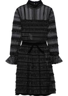 Philosophy Di Lorenzo Serafini Woman Ruffled Faux Leather And Metallic Lace Mini Dress Black