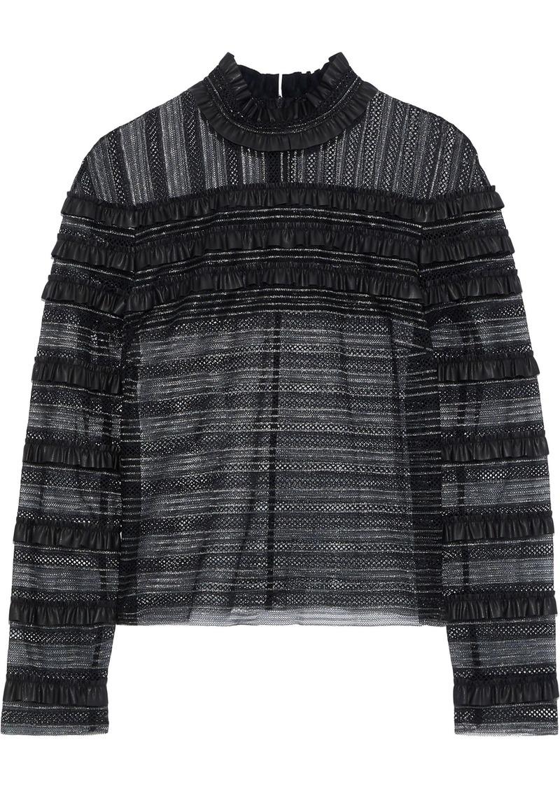 Philosophy Di Lorenzo Serafini Woman Ruffled Faux Leather-trimmed Metallic Lace Top Black
