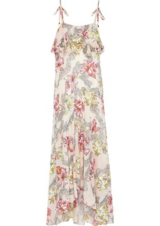 Philosophy Di Lorenzo Serafini Woman Ruffled Floral-print Cotton And Silk-blend Maxi Slip Dress Pastel Pink