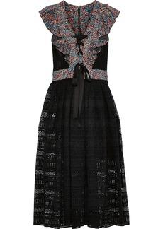 Philosophy Di Lorenzo Serafini Woman Ruffled Floral-print Crepe-paneled Cotton-blend Lace Midi Dress Black