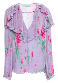 Philosophy Di Lorenzo Serafini Woman Ruffled Floral-print Plissé-chiffon Blouse Lavender