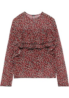 Philosophy Di Lorenzo Serafini Woman Ruffled Floral-print Silk-chiffon Top Red