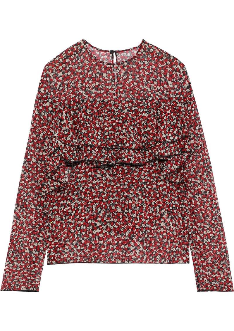 Philosophy Di Lorenzo Serafini Woman Ruffled Floral-print Silk-chiffon Top Red