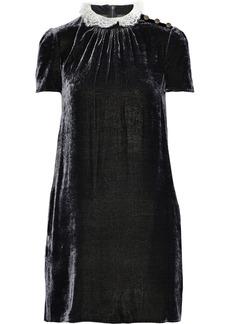 Philosophy Di Lorenzo Serafini Woman Ruffled Lace-trimmed Crushed-velvet Mini Dress Gray