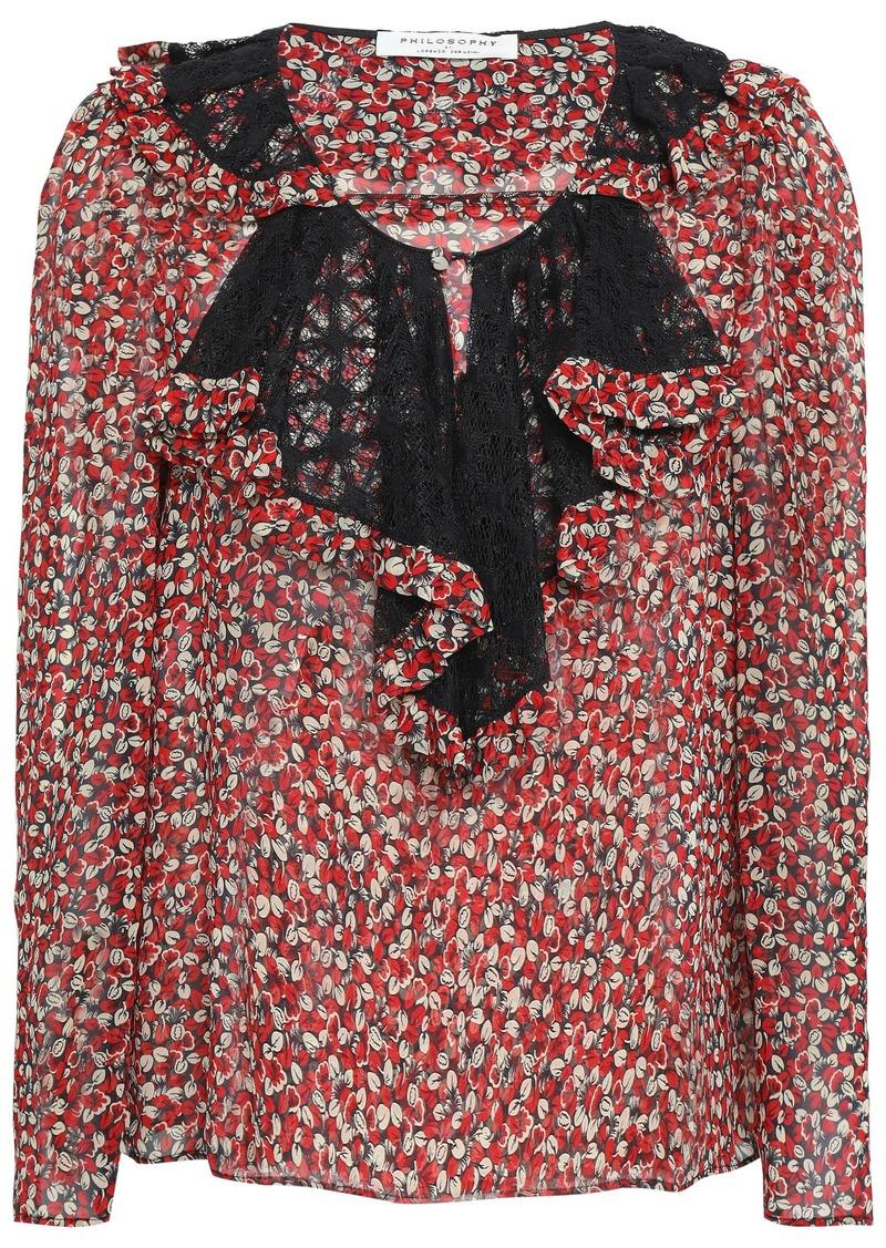 Philosophy Di Lorenzo Serafini Woman Ruffled Lace-trimmed Silk-georgette Blouse Black