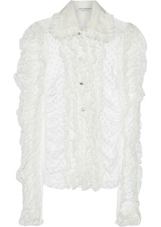 Philosophy Di Lorenzo Serafini Woman Ruffled Lace-trimmed Swiss-dot Tulle Blouse Ivory