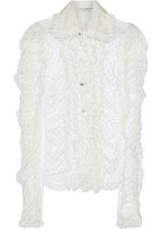 Philosophy Di Lorenzo Serafini Woman Ruffled Lace-trimmed Swiss-dot Tulle Blouse Ivory