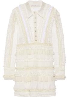 Philosophy Di Lorenzo Serafini Woman Ruffled Point D'esprit Lace And Swiss-dot Tulle Mini Dress Ivory