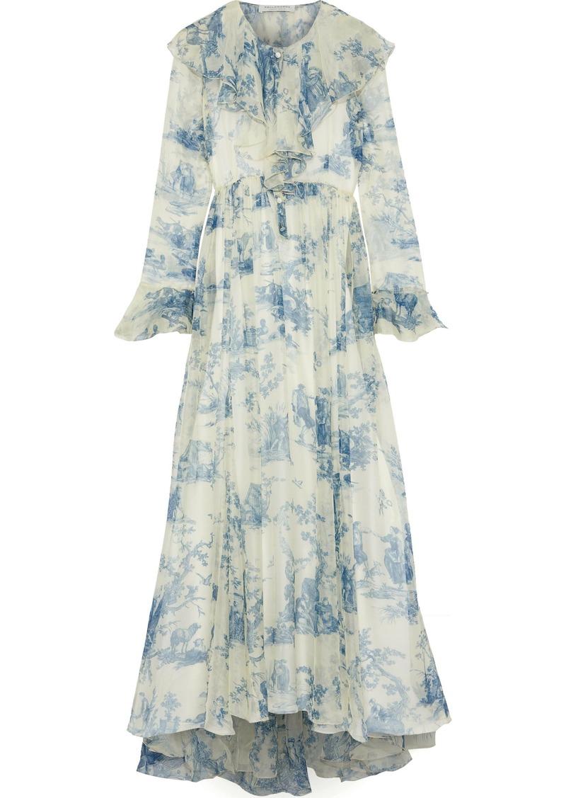 Philosophy Di Lorenzo Serafini Woman Ruffled Printed Silk-chiffon Maxi Dress Ivory