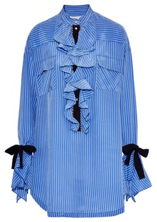 Philosophy Di Lorenzo Serafini Woman Ruffled Striped Silk Crepe De Chine Mini Dress Azure