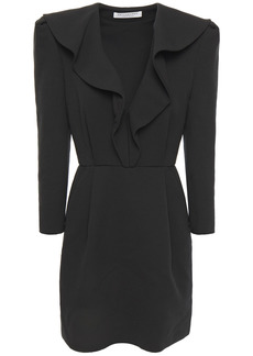 Philosophy Di Lorenzo Serafini Woman Ruffled Wool And Cotton-blend Crepe Mini Dress Black