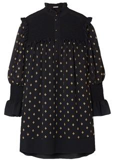 Philosophy Di Lorenzo Serafini Woman Shirred Embroidered Georgette Mini Dress Black