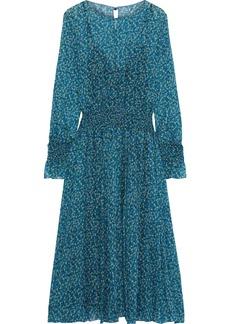 Philosophy Di Lorenzo Serafini Woman Shirred Floral-print Silk-chiffon Midi Dress Teal