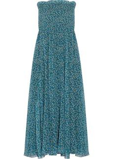 Philosophy Di Lorenzo Serafini Woman Smocked Printed Silk-chiffon Maxi Dress Azure