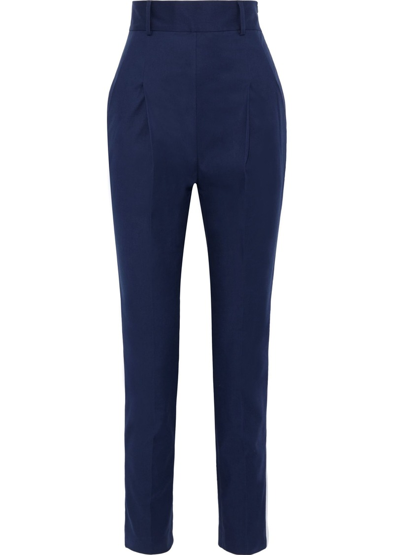Philosophy Di Lorenzo Serafini Woman Satin-trimmed Cotton-blend Twill Straight-leg Pants Navy