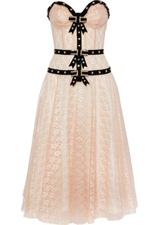 Philosophy Di Lorenzo Serafini Woman Strapless Embellished Lace Midi Dress Baby Pink