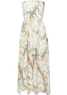 Philosophy Di Lorenzo Serafini Woman Strapless Shirred Printed Silk-gauze Midi Dress Ivory