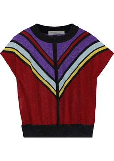 Philosophy Di Lorenzo Serafini Woman Striped Metallic Stretch-knit Top Multicolor