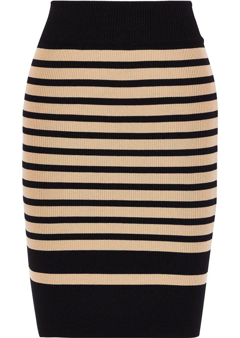 Philosophy Di Lorenzo Serafini Woman Striped Ribbed Wool-blend Mini Skirt Sand