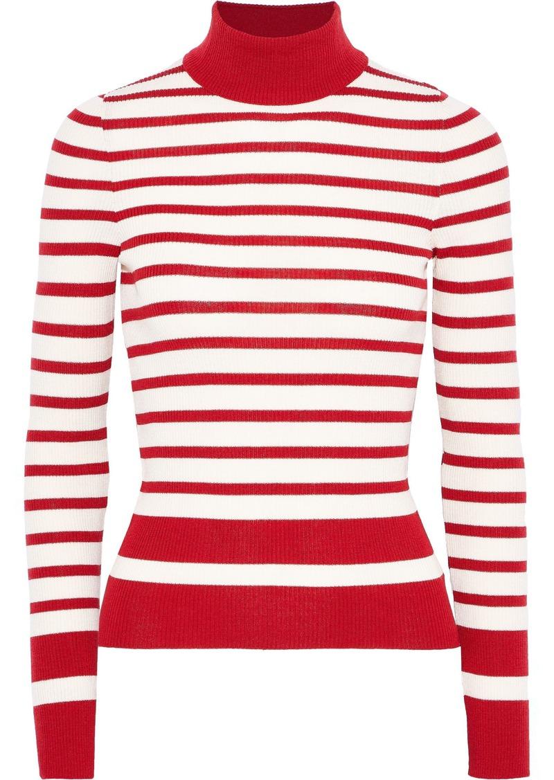 Philosophy Di Lorenzo Serafini Woman Striped Ribbed Wool Turtleneck Top Crimson