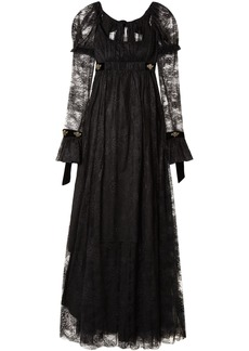 Philosophy Di Lorenzo Serafini Woman Tie-back Velvet-trimmed Lace Gown Black
