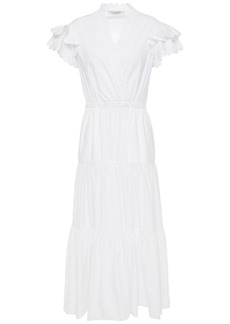 Philosophy Di Lorenzo Serafini Woman Tiered Broderie Anglaise Cotton-broadcloth Midi Dress White