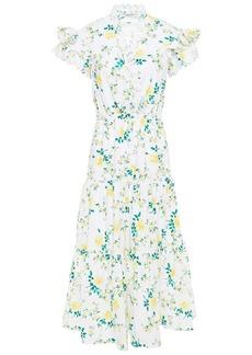 Philosophy Di Lorenzo Serafini Woman Tiered Floral-print Broderie Anglaise Cotton Midi Dress White