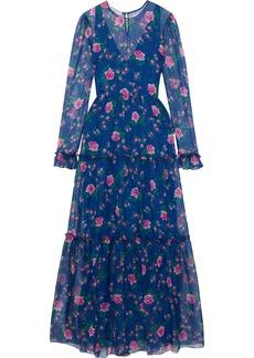 Philosophy Di Lorenzo Serafini Woman Tiered Floral-print Chiffon Maxi Dress Indigo