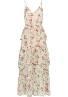 Philosophy Di Lorenzo Serafini Woman Tiered Floral-print Silk-gauze Maxi Dress Ecru