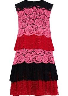 Philosophy Di Lorenzo Serafini Woman Tiered Pleated Color-block Lace Mini Dress Multicolor