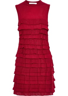 Philosophy Di Lorenzo Serafini Woman Tiered Pointelle-knit Wool Mini Dress Red