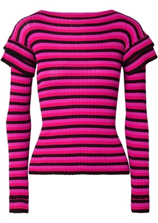 Philosophy Di Lorenzo Serafini Woman Tiered Striped Ribbed Cotton Sweater Black