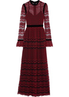 Philosophy Di Lorenzo Serafini Woman Velvet-trimmed Embroidered Tulle Gown Claret