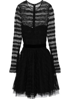 Philosophy Di Lorenzo Serafini Woman Velvet-trimmed Lace And Point D'esprit Mini Dress Black