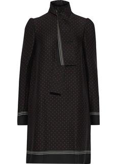 Philosophy Di Lorenzo Serafini Woman Velvet-trimmed Pleated Printed Cady Mini Dress Black