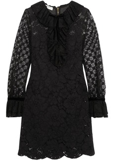 Philosophy Di Lorenzo Serafini Woman Velvet-trimmed Ruffled Cotton-blend Corded Lace Mini Dress Black