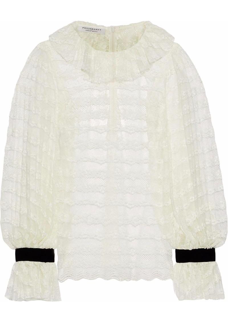 Philosophy Di Lorenzo Serafini Woman Velvet-trimmed Ruffled Lace Blouse White