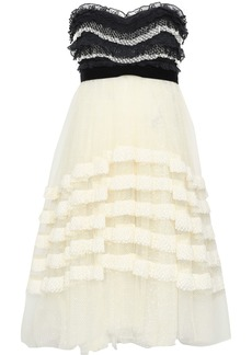 Philosophy Di Lorenzo Serafini Woman Velvet-trimmed Ruffled Two-tone Lace Dress Ivory