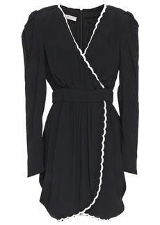 Philosophy Di Lorenzo Serafini Woman Wrap-effect Scalloped Crepe De Chine Mini Dress Black