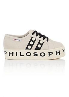 Philosophy di Lorenzo Serafini Women's Pearl-Embellished Suede & Leather Platform Sneakers