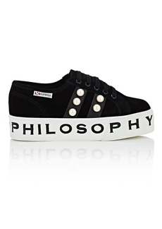 Philosophy di Lorenzo Serafini Women's Pearl-Embellished Suede Platform Sneakers
