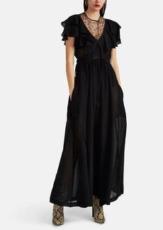 Philosophy di Lorenzo Serafini Women's Ruffle Tulle-Inset Double Crepon Maxi Dress