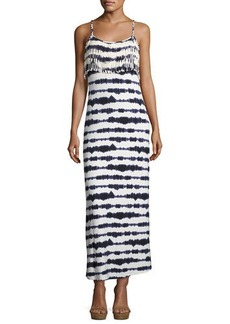 Philosophy Fringed-Trim Tie-Dye Maxi Dress