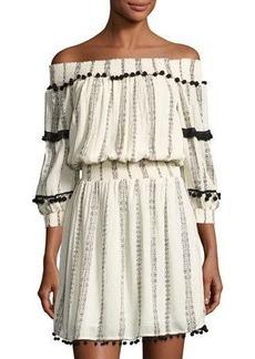 Philosophy Off-The-Shoulder Pompom Dress