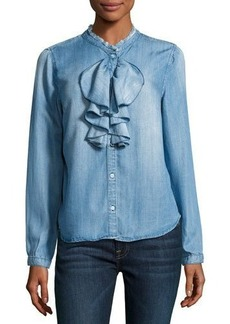 Philosophy Ruffle-Front Chambray Blouse