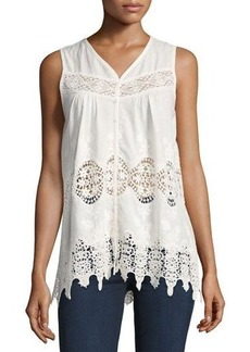 Philosophy Sleeveless Lace-Inset Button-Front Tank