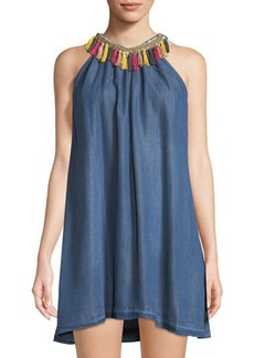 Philosophy Tassel-Neck Chambray Dress
