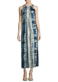 Philosophy Tie-Shoulder Tie-Dye Long Dress