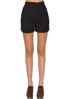 Philosophy Pinstripe Cotton And Wool Wide Shorts